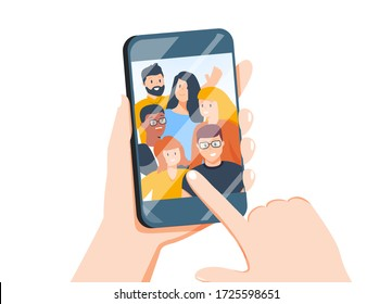 Hands holding mobile phone with happy boys and girls displaying on screen. Friends posing for selfie, group of joyful people photographing themselves. Flat colorful cartoon illustration.
