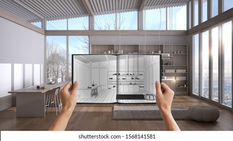 Hands, die Notizblock mit kreativen Küchendesign-Skizze oder Zeichnung halten. Echter Projekthintergrund für Innenarchitektur. Vor und nach dem Konzept, Architect Designer Work Flow Idee, 3D-Illustration