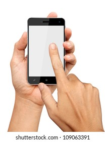 hands are holding and pointing on Smart Phone Isolated on white background
