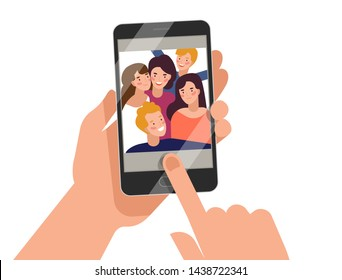 Hands holding smartphone with young smiling men and women displaying on screen. Friends taking selfie, group of happy people photographing themselves. Flat colorful cartoon illustration.