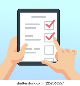 Hands holding tablet with online survey form, questionnaire. Mobile marketing feedback concept