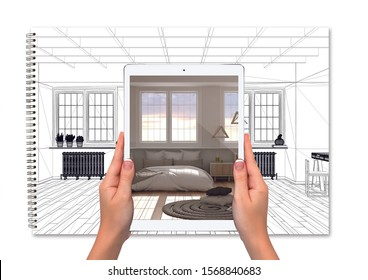 Hands holding tablet showing bedroom with bed, notebook with blueprint sketch background, augmented reality concept, application to simulate furniture and interior design products, 3d illustration