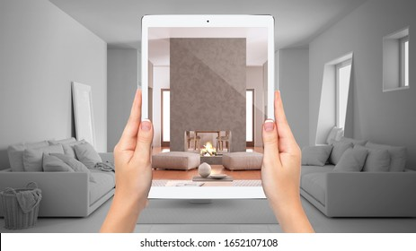 Hands holding tablet showing cosy living room with fireplace, total blank project background, augmented reality concept, application to simulate furniture and interior design products, 3d illustration