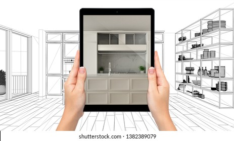 Hands holding tablet showing modern white classic kitchen. Blueprint CAD sketch background, augmented reality concept, application to simulate furniture and interior design products, 3d illustration
