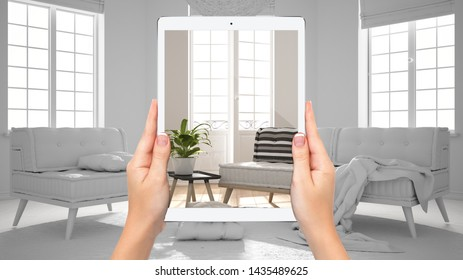 Hands holding tablet showing modern living room, total blank project background, augmented reality concept, application to simulate furniture and interior design products, 3d illustration