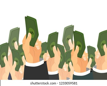 A lot of hands holds a bunch of banknotes with dollar sign. Auction sale concept illustration on white