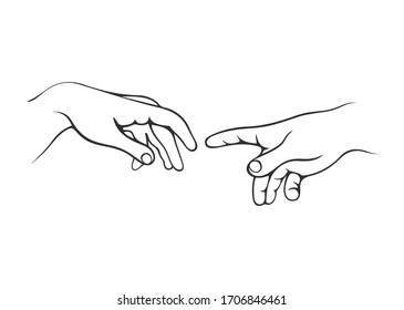 Hands human. Human hands. Hand gestures. Hands isolated on a white background. World creation illustration.