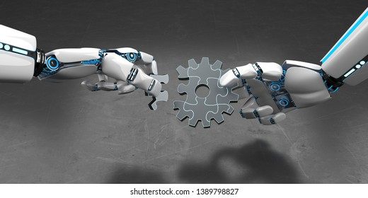 Hands of the humanoid robot with gear wheel puzzle. 3d illustration.