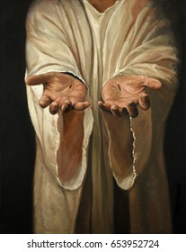 The hands of Jesus showing scars - Oil on linen painting
