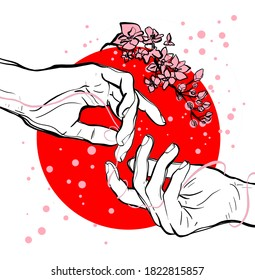 Hands of loving people, connected by a thread of fate, against the background of the flag of Japan with Sakura flowers
