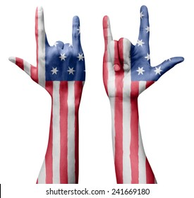 Hands making I love you sign, USA (United States of America) flag painted, multi purpose concept - isolated on white background, illustration.
