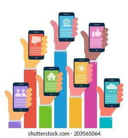 Hands with modern smartphones, flat design, raster illustration, logo