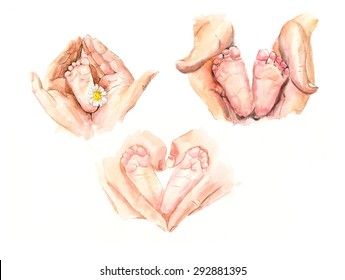 Hands of mothers concerned barefoot baby. New born child baby foots leg in mother hands isolated on a white background. Watercolor hand drawn illustration.