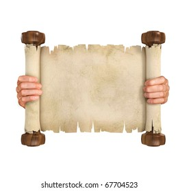 hands opening the parchment scroll isolated on white background