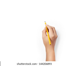 hands with pencil  writting something