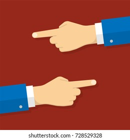 Hands with pointing fingers, left and right side. Flat design style