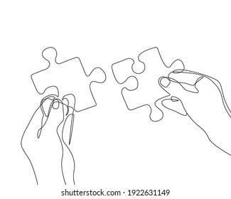 Hands with Puzzle Continuous Line Drawing. Business Concept Trendy Minimalist Illustration. Hands One Line Abstract Minimalist Contour Drawing. Raster copy