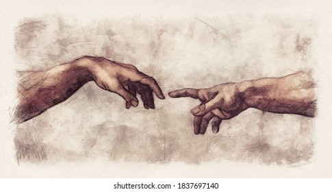 Hands reaching Creation of Adam. Pencil and watercolor sketch in the style of old renaissance and Michelangelo or Leonardo drawings on paper.