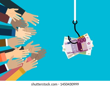 Hands reaching out to get money on the fish hook. Deception, a trap on the hook and hands stretching for help. Illustration in flat style.