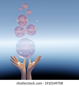 hands releasing transparent bubbles to air