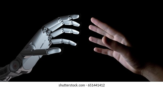 Hands of Robot and Human Touching Isolated on Black Background. Artificial Intelligence Technology Concept 3d Illustration