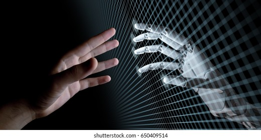 Hands of Robot and Human Touching Through Virtual Grid on Black Background. Virtual Reality or Artificial Intelligence Technology Concept 3d Illustration