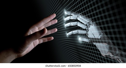 Hands of Robot and Human Touching Through Virtual Grid on Black Background. Artificial Intelligence Concept 3d Illustration