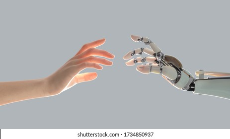 hands of a robot and a man tend to one another, 3d illustration