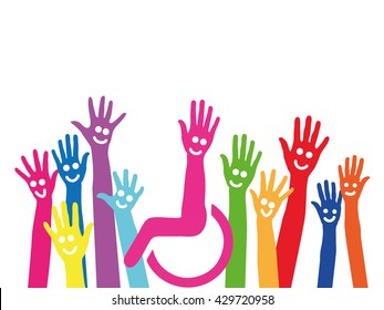 Hands as a symbol of inclusion and integration with wheelchair in the middle