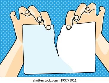 Hands tearing paper (raster version)