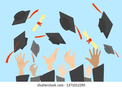 Hands throwing graduation caps and diploma in the air. Celebration of university or school graduation. Isolated flat  illustration