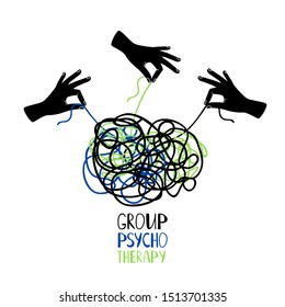 Hands untangling snarl knot, group psychotherapy concept illustration
