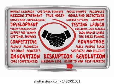 Handshake Agreement Shaking Hands Business Plan Strategy 3d Illustration