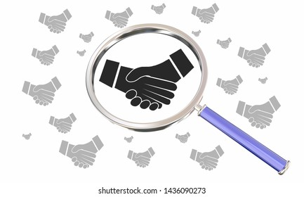 Handshake Agreement Shaking Hands Magnifying Glass Search Find 3d Illustration