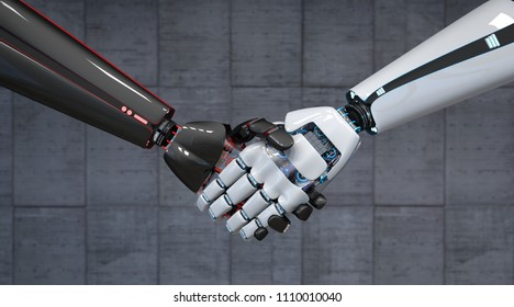 Handshake of the black and white hands of the robots. 3d illustration.