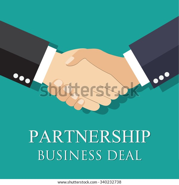 handshake businessman agreement. illustration flat style. shaking hands. symbol of a successful transaction  Raster version.