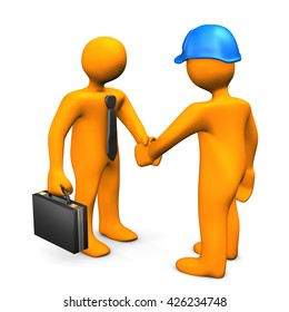 Handshake with businessman and worker on the white. 3d illustration.