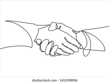 Handshake continuous line drawing. Business agreement  concept