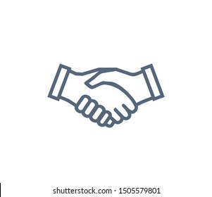 Handshake icon symbol of collaboration and partnership. Agreement and unity symbol, hands shaking each other raster illustration isolated on white.