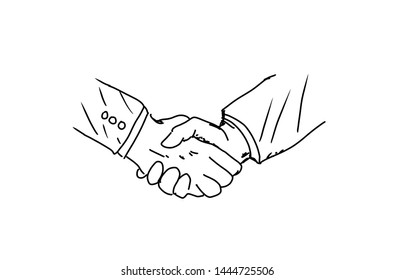 Handshake painting isolated white background Show greeting or happy