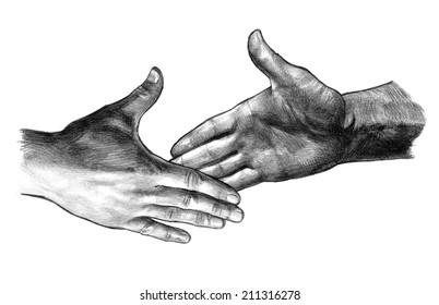Handshake, pencil drawing