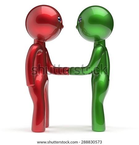 Handshake Two Men Cartoon Characters Shaking Stock Illustration