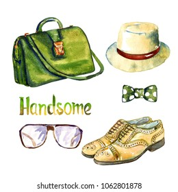 Handsome accessories set, green color doctors bag, glasses, yellow leather medallion cap toe balmoral shoes, panama hat and bow, hand painted watercolor illustration with inscription isolated on white
