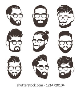 Handsome bearded hipster man faces with mustache and modern male hairstyle avatars isolated