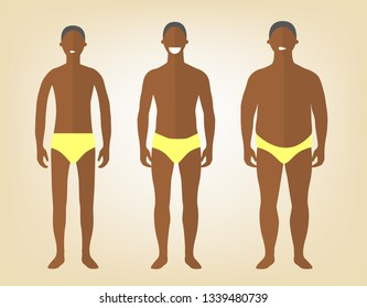 Handsome black man in yellow underwear with excess weight, in normal shape and with underweight. Man in a different forms, set of flat style illustrations. Flat design character.