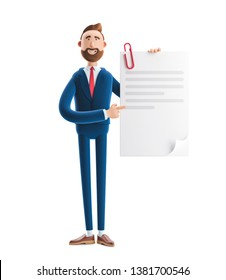 Handsome cartoon character Billy holds a completed document. 3d illustration