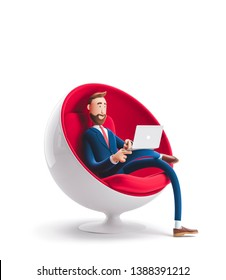 Handsome cartoon character Billy sitting in an egg chair with laptop. 3d illustration