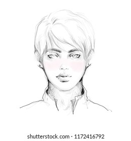 Handsome guy face black and white pencil sketch with watercolor fashion illustration. Hand drawn attractive young man portrait for print, card design background.