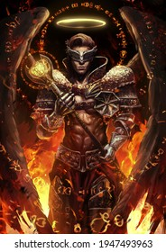 A handsome, muscular, bare-chested angel knight stands in the middle of the inferno with a mace in his hands and a halo over his head. 2d illustration.