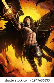 A handsome, muscular male angel with four black wings is flying a fiery magic sword across the bright yellow sky. 2d illustration.